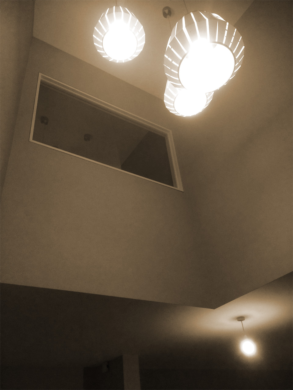 Double height space above sitting area.